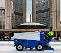 A machine resurfacing on an open rink in Toronto, Ontario Canada. Photo courtesy of Benson Kua.