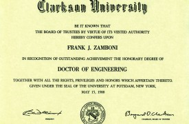 Clarkson University Honorary Doctor of Engineering Diploma presented to Frank Zamboni May 15, 1988.