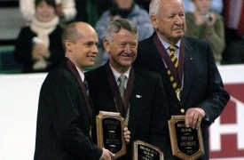 Richard Zamboni in 2006 at the World Figure Skating Hall of Fame induction in Calgary, Alberta. Richard is shown with Kurt Browning and Donald Gilchrist, other inductees during the ceremony.